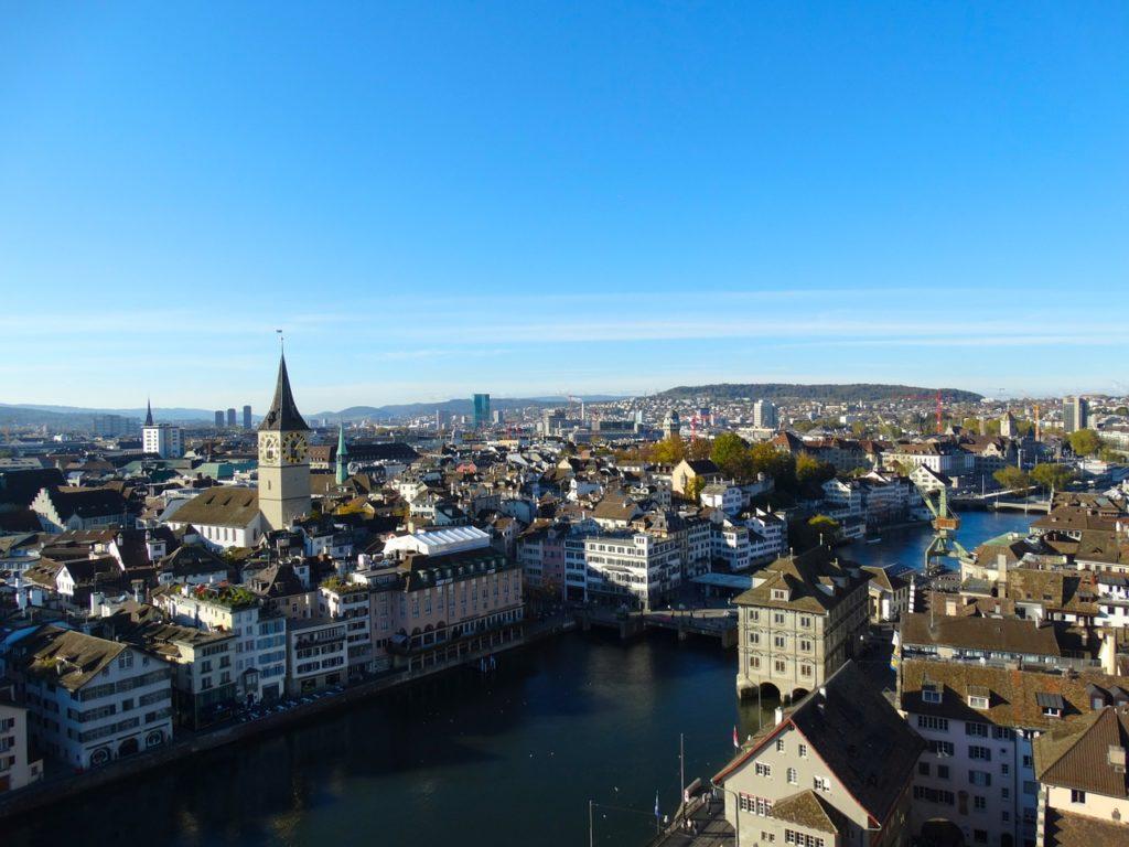 aerial view zurich chasing whereabouts switzerland spring